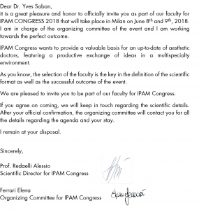 Invitation pour l'IPAM CONGRESS 2018 de Milan